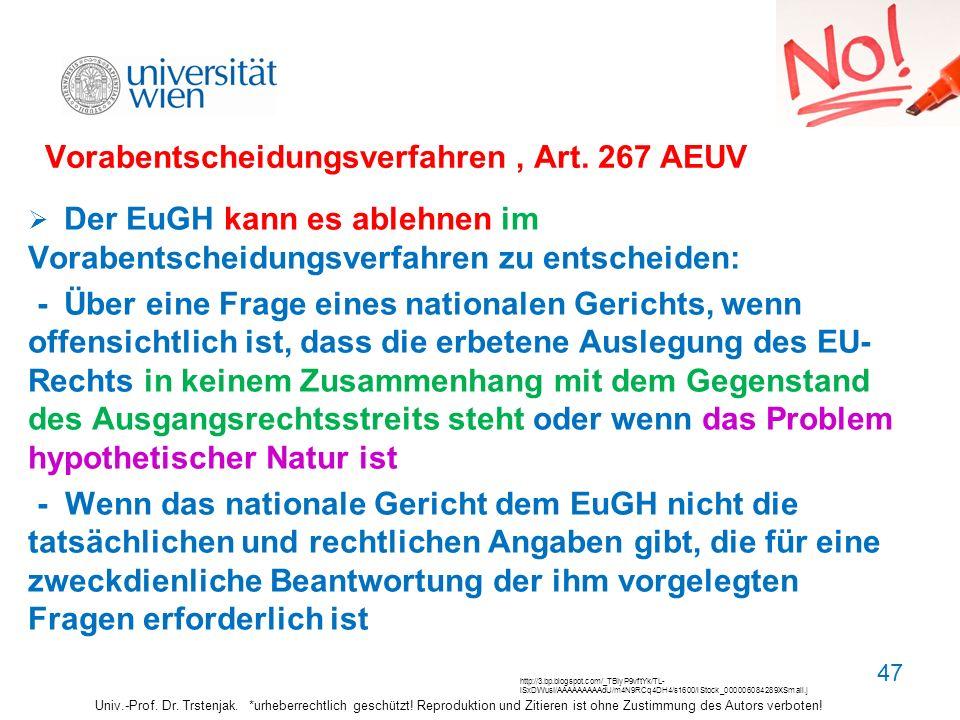 Vorabentscheidungsverfahren , Art. 267 AEUV