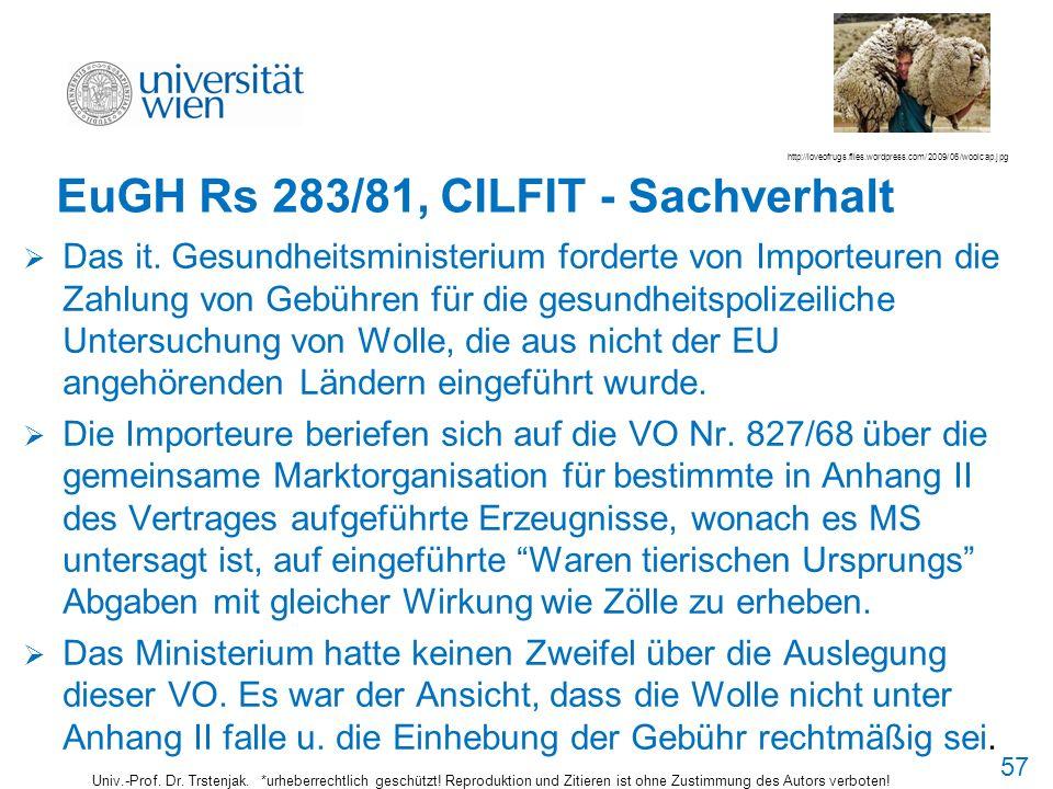 EuGH Rs 283/81, CILFIT - Sachverhalt