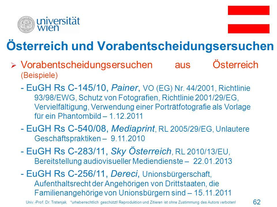 Österreich und Vorabentscheidungsersuchen