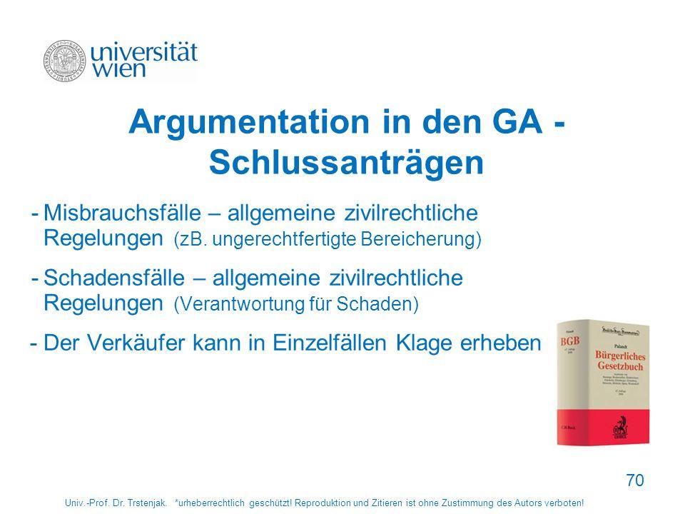 Argumentation in den GA -Schlussanträgen