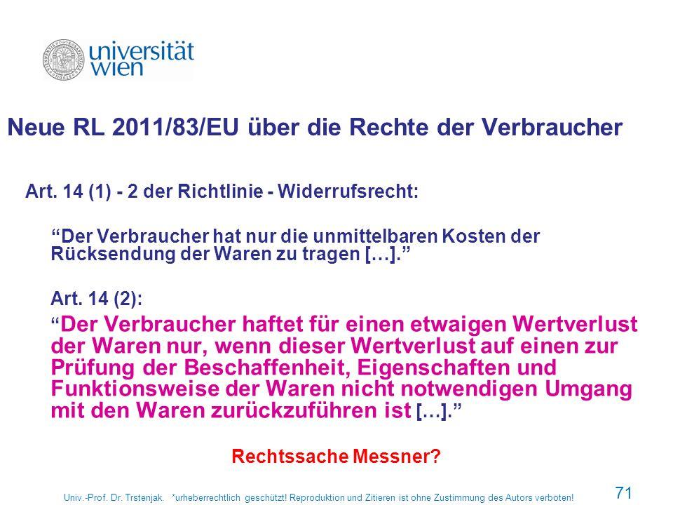 Neue RL 2011/83/EU über die Rechte der Verbraucher