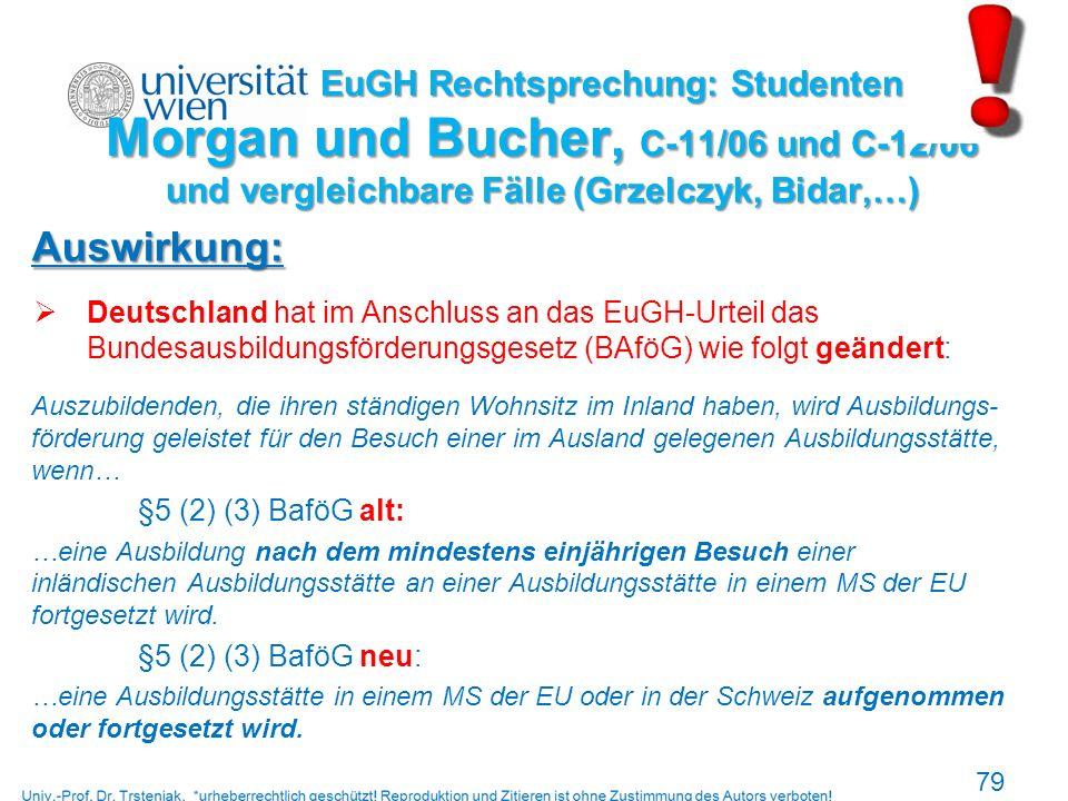EuGH Rechtsprechung: Studenten Morgan und Bucher, C-11/06 und C-12/06 und vergleichbare Fälle (Grzelczyk, Bidar,…)