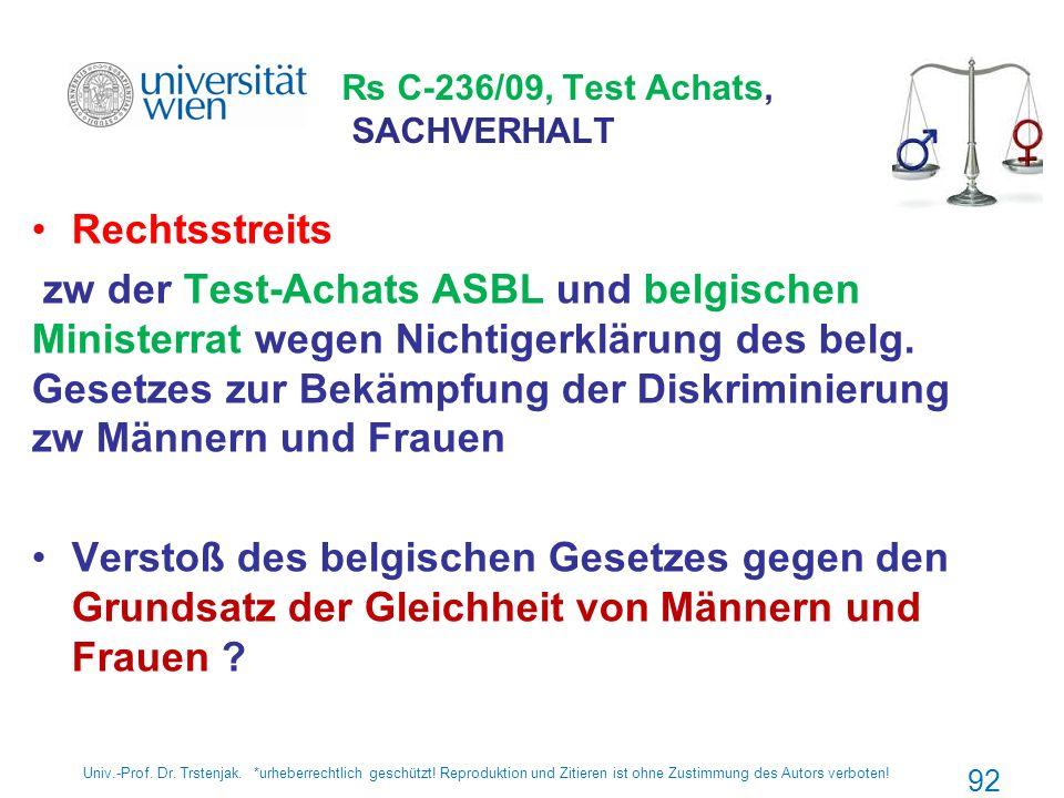 Rs C-236/09, Test Achats, SACHVERHALT