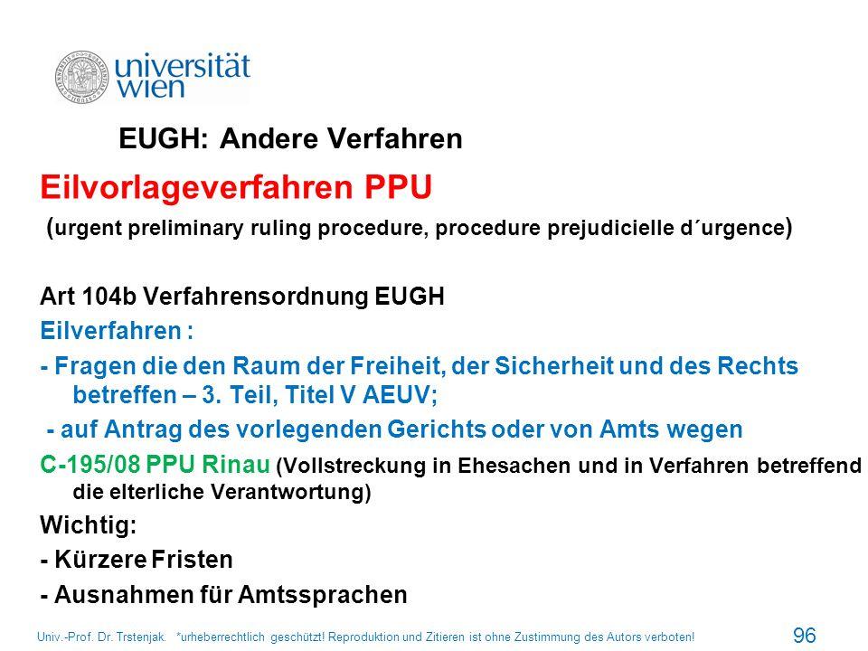 EUGH: Andere Verfahren
