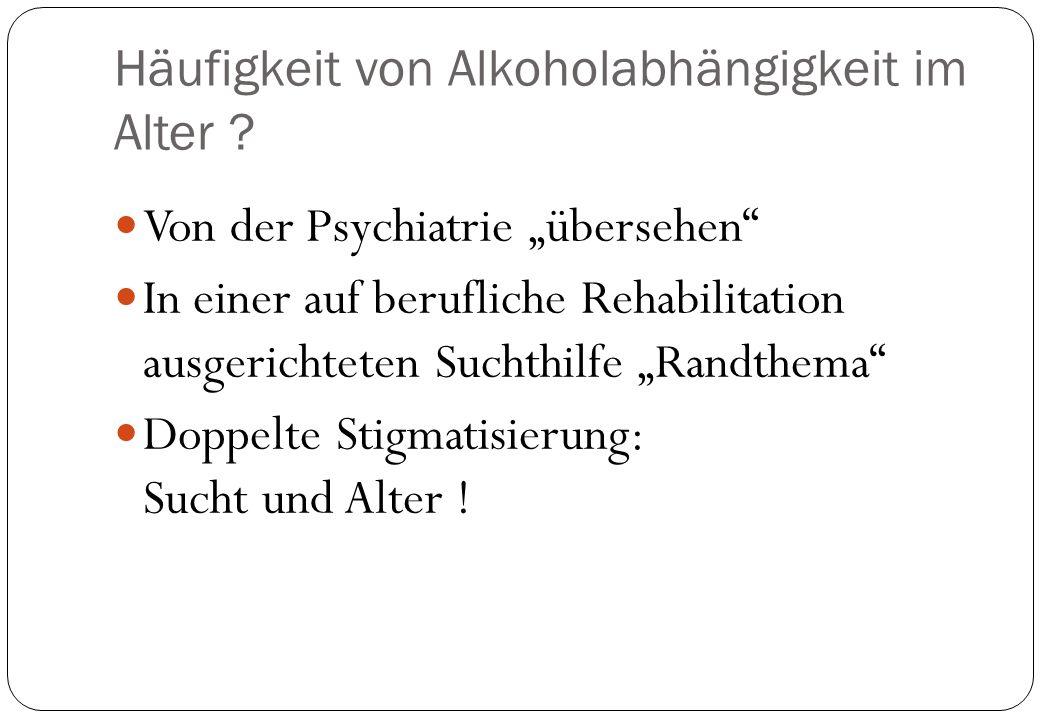 Häufigkeit von Alkoholabhängigkeit im Alter