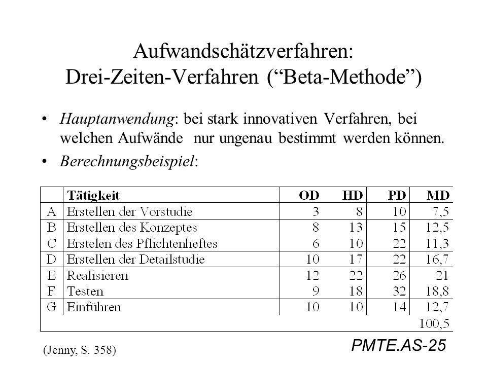 Aufwandschätzverfahren: Drei-Zeiten-Verfahren ( Beta-Methode )