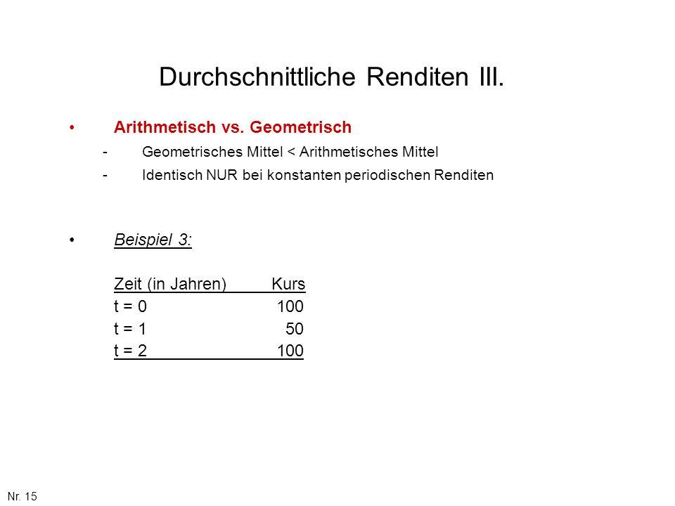 Durchschnittliche Renditen III.