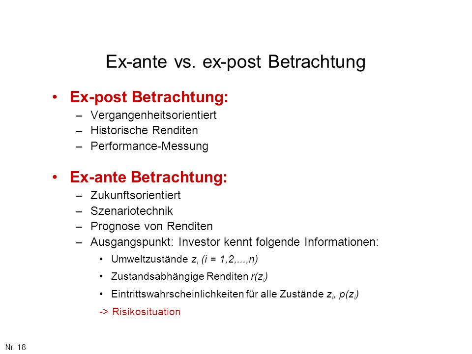 Ex-ante vs. ex-post Betrachtung