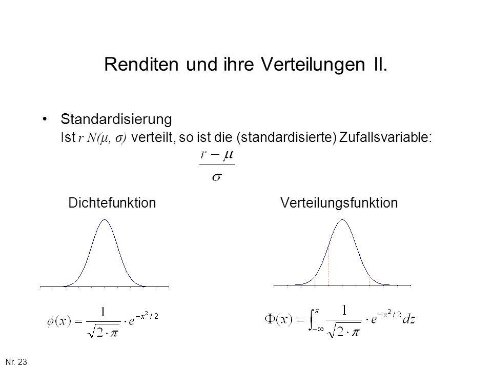 Renditen und ihre Verteilungen II.