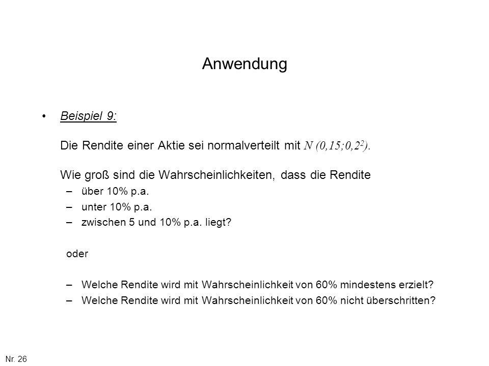 Anwendung Beispiel 9: Die Rendite einer Aktie sei normalverteilt mit N (0,15;0,22). Wie groß sind die Wahrscheinlichkeiten, dass die Rendite.