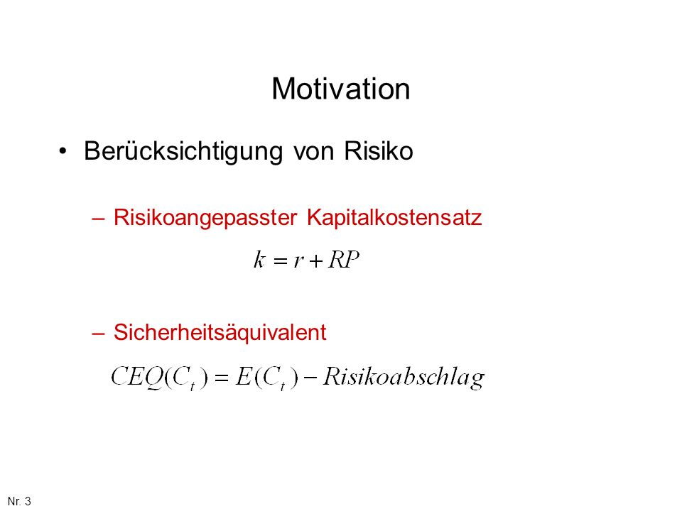 Motivation Berücksichtigung von Risiko