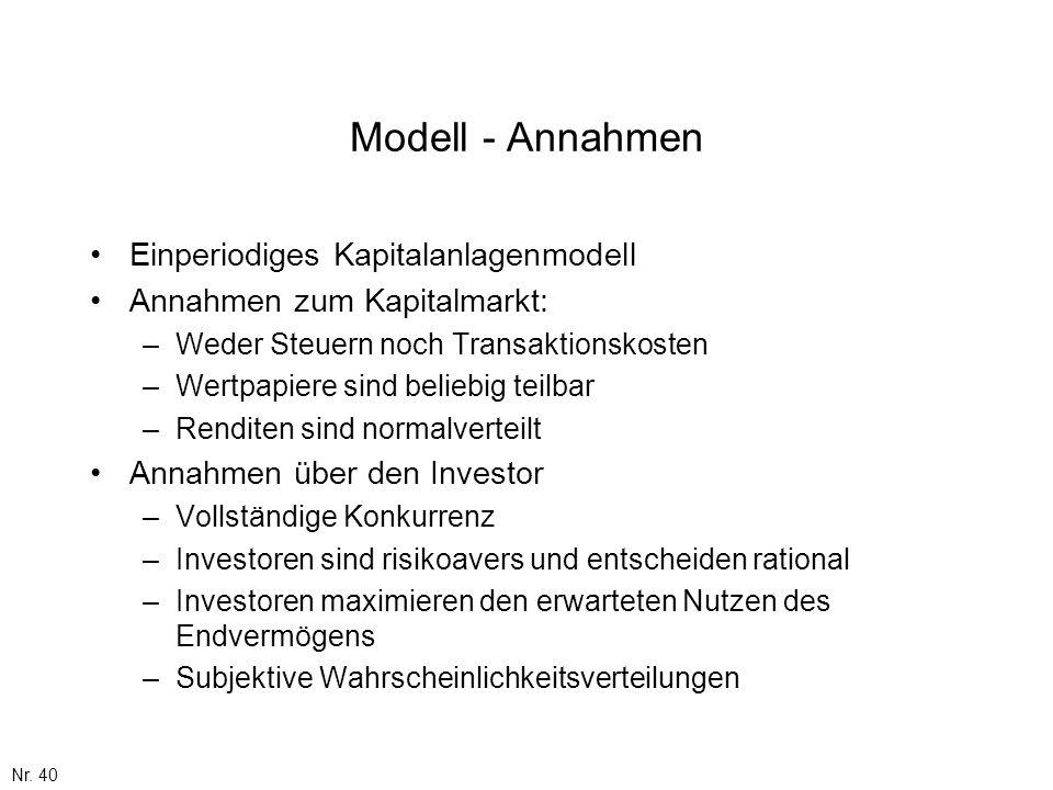 Modell - Annahmen Einperiodiges Kapitalanlagenmodell