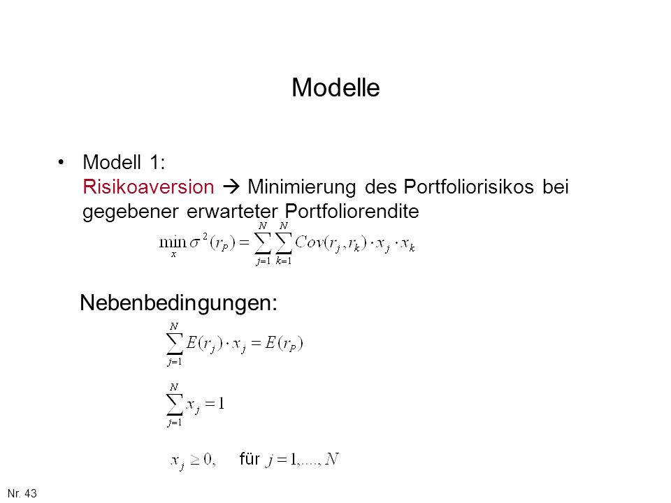 Modelle Nebenbedingungen: