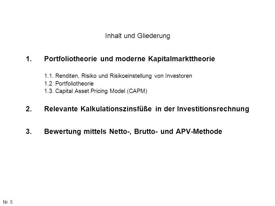 Relevante Kalkulationszinsfüße in der Investitionsrechnung