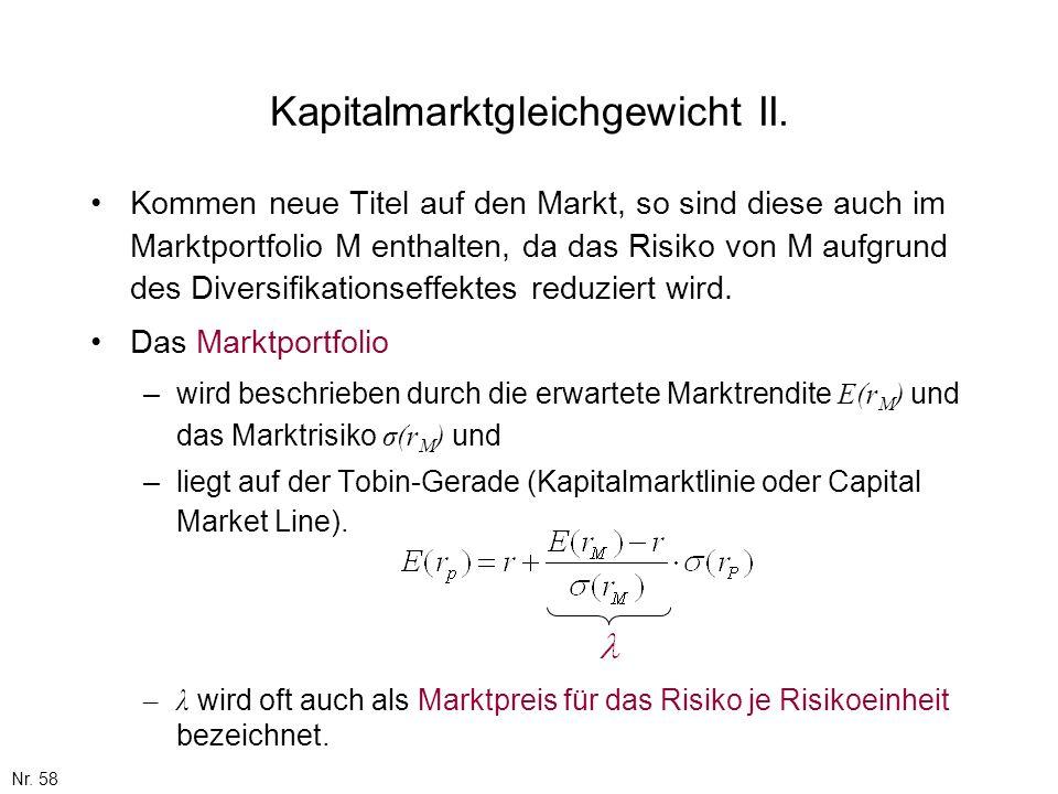 Kapitalmarktgleichgewicht II.