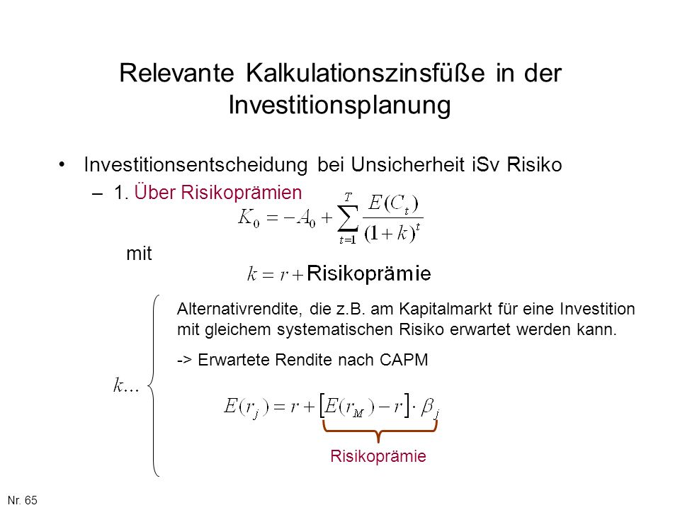 Relevante Kalkulationszinsfüße in der Investitionsplanung