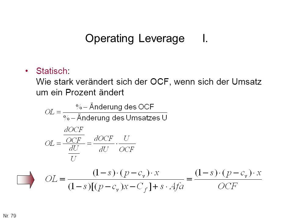 Operating Leverage I. Statisch: Wie stark verändert sich der OCF, wenn sich der Umsatz um ein Prozent ändert.