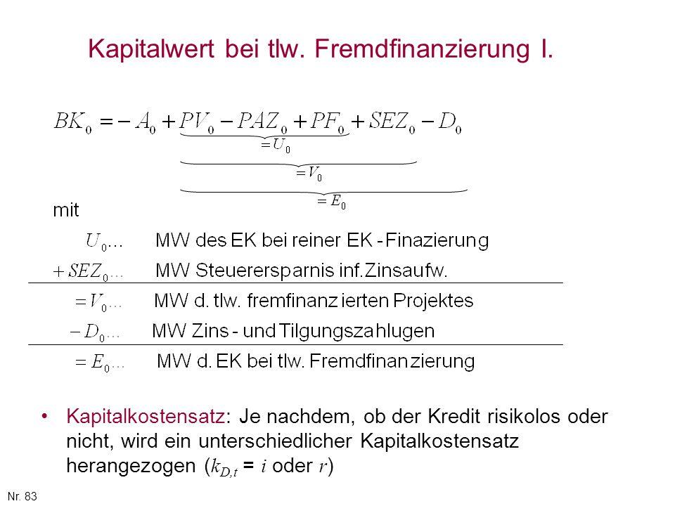 Kapitalwert bei tlw. Fremdfinanzierung I.