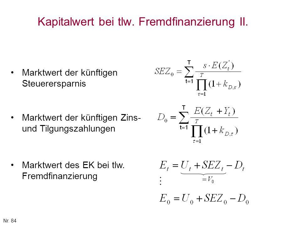 Kapitalwert bei tlw. Fremdfinanzierung II.