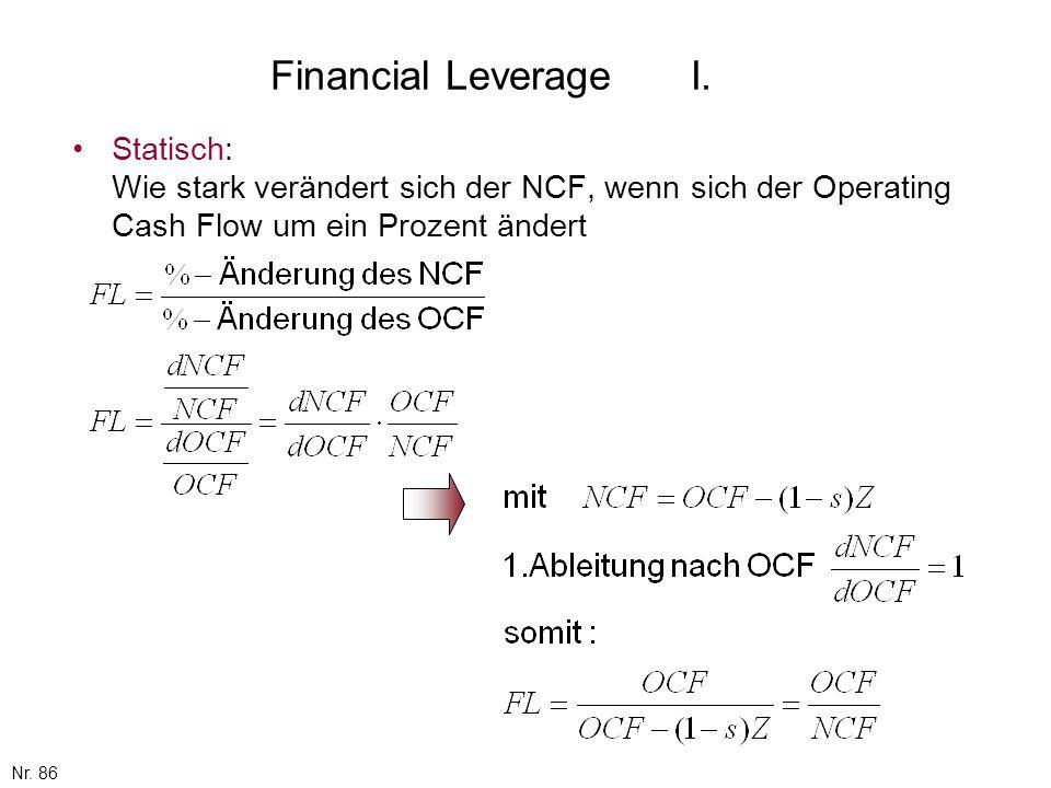 Financial Leverage I. Statisch: Wie stark verändert sich der NCF, wenn sich der Operating Cash Flow um ein Prozent ändert.