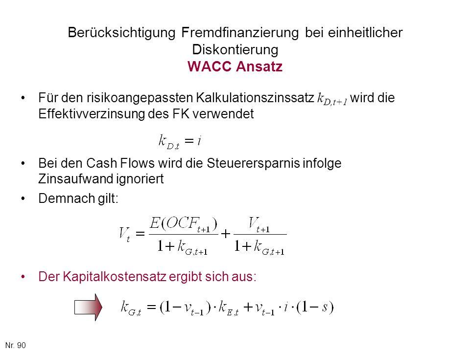 Berücksichtigung Fremdfinanzierung bei einheitlicher Diskontierung WACC Ansatz
