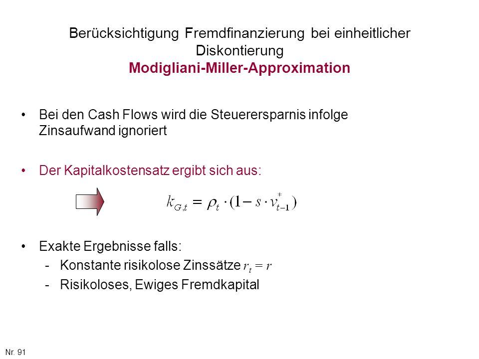 Berücksichtigung Fremdfinanzierung bei einheitlicher Diskontierung Modigliani-Miller-Approximation
