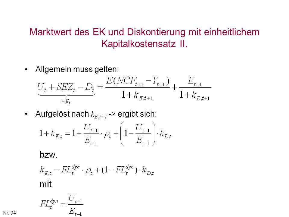 Marktwert des EK und Diskontierung mit einheitlichem Kapitalkostensatz II.