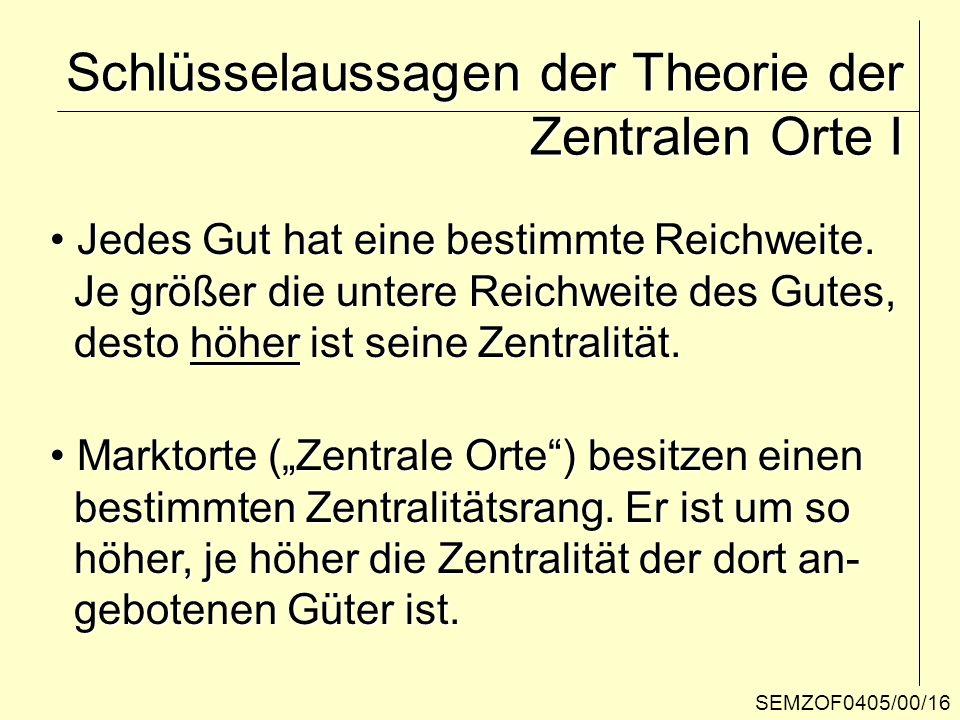 Schlüsselaussagen der Theorie der Zentralen Orte I