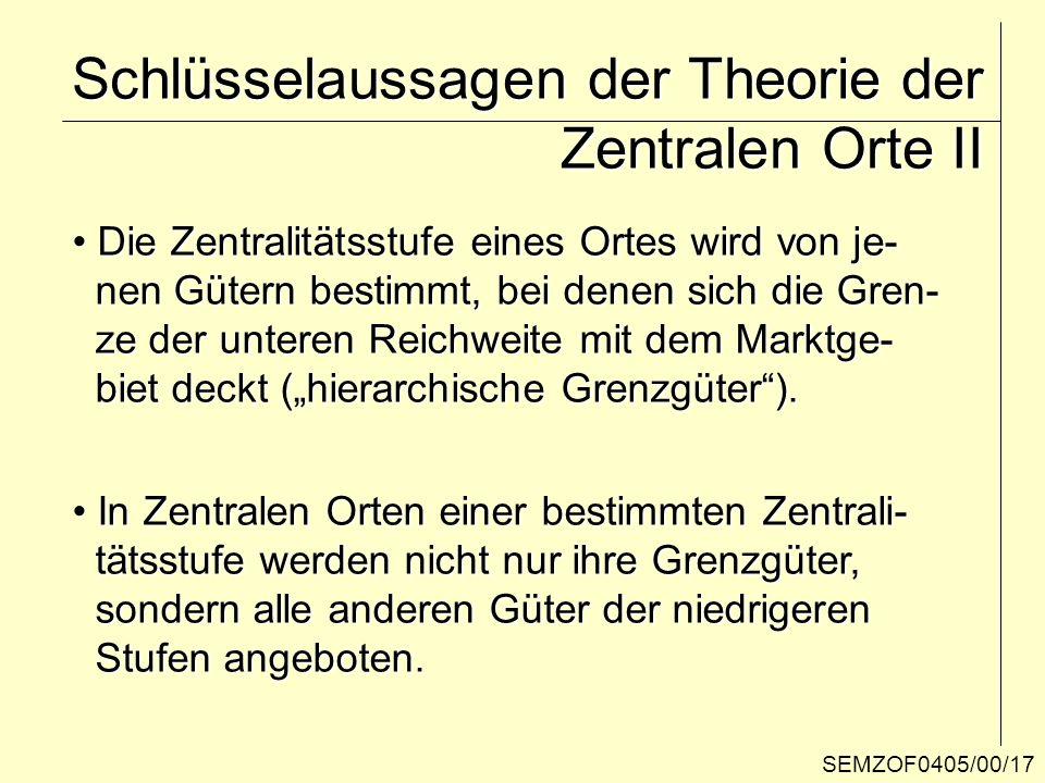 Schlüsselaussagen der Theorie der Zentralen Orte II