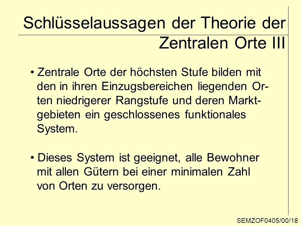 Schlüsselaussagen der Theorie der Zentralen Orte III