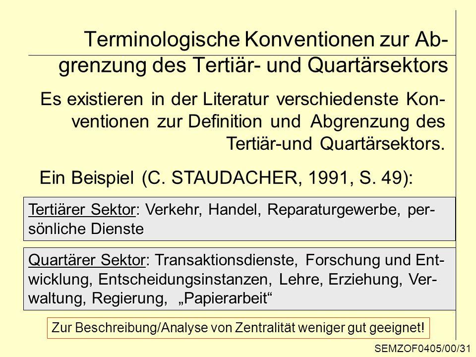 Terminologische Konventionen zur Ab- grenzung des Tertiär- und Quartärsektors