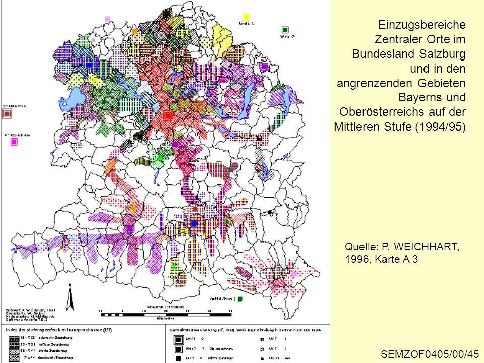 Einzugsbereiche Zentraler Orte im Bundesland Salzburg und in den angrenzenden Gebieten Bayerns und Oberösterreichs auf der Mittleren Stufe (1994/95)