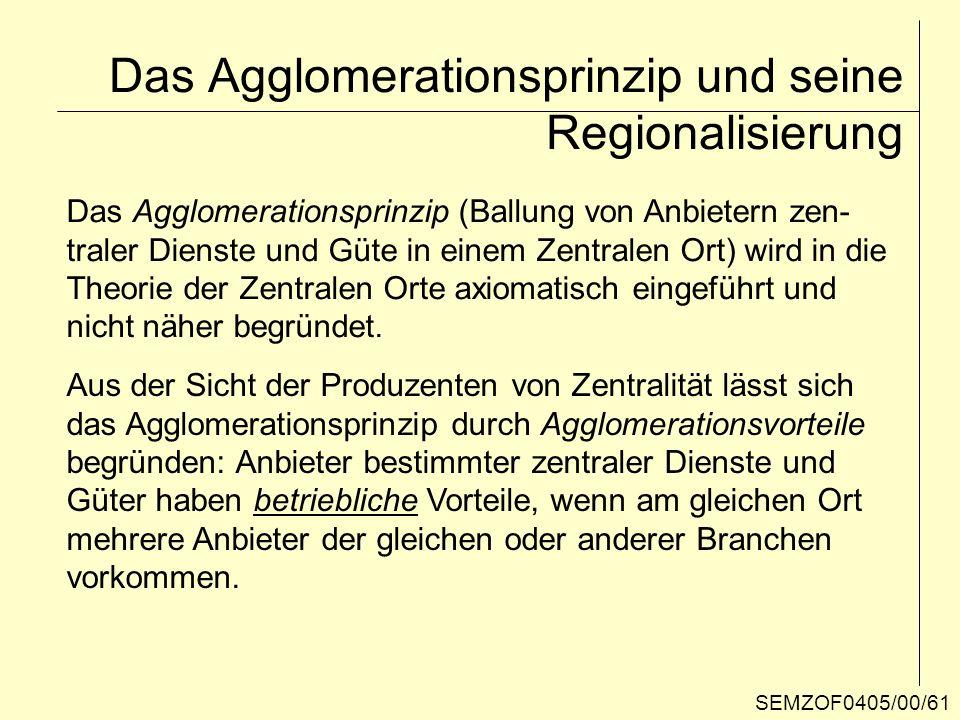 Das Agglomerationsprinzip und seine Regionalisierung
