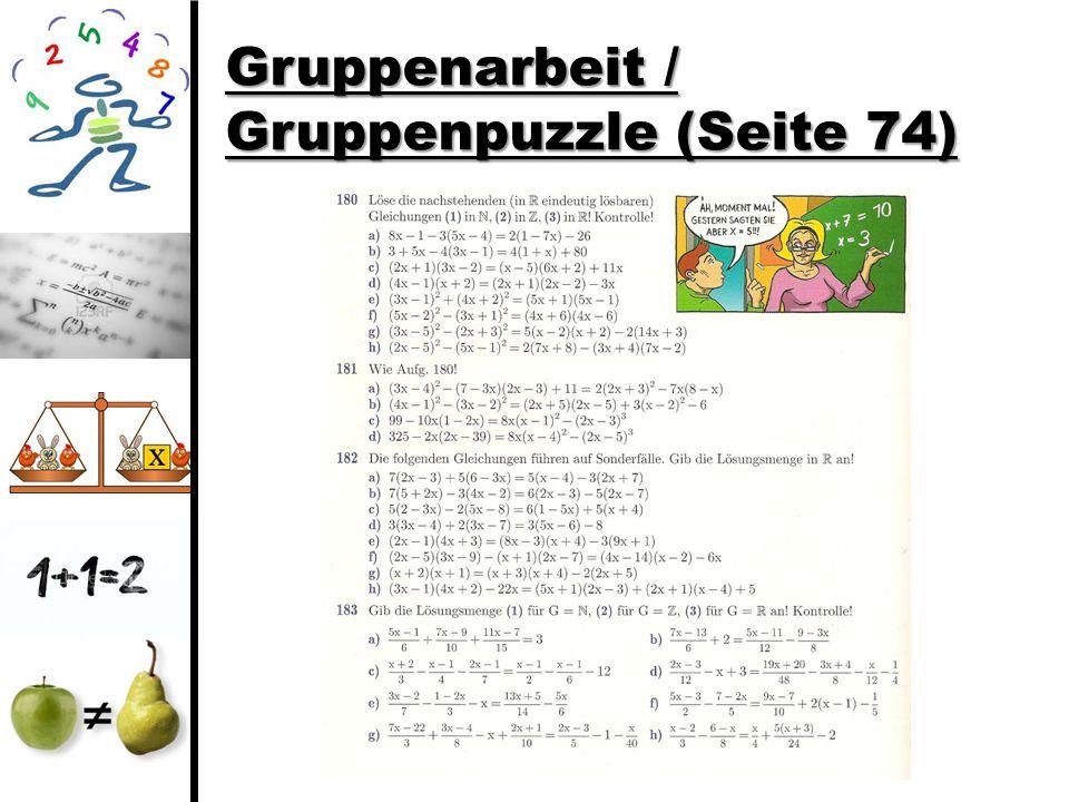 Gruppenarbeit / Gruppenpuzzle (Seite 74)
