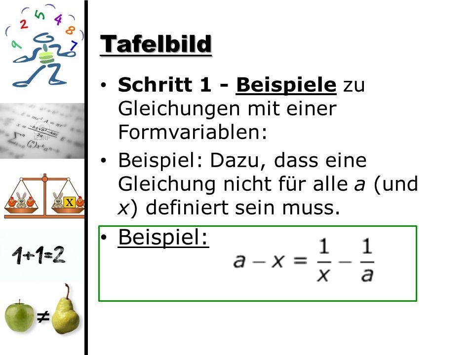 Tafelbild Schritt 1 - Beispiele zu Gleichungen mit einer Formvariablen: