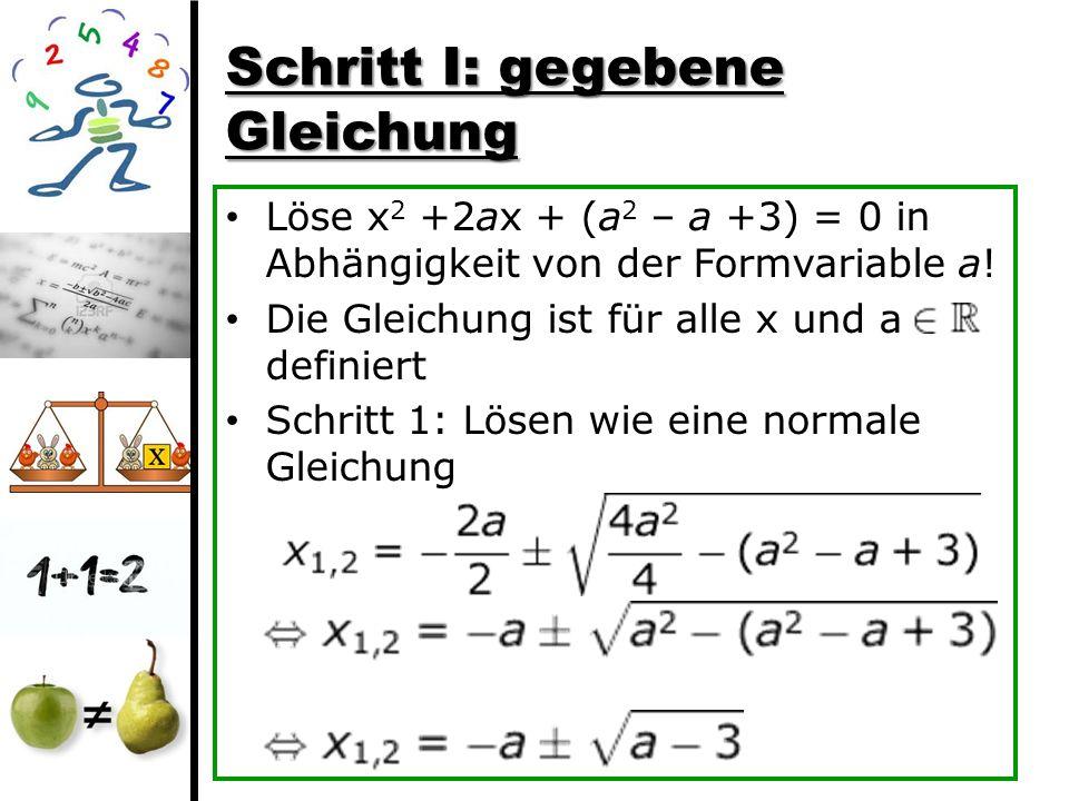 Schritt I: gegebene Gleichung
