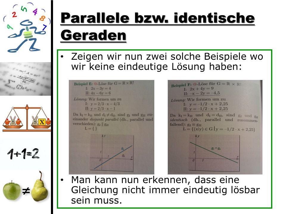 Parallele bzw. identische Geraden