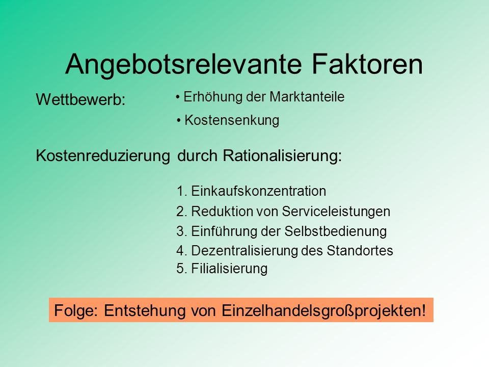 Angebotsrelevante Faktoren