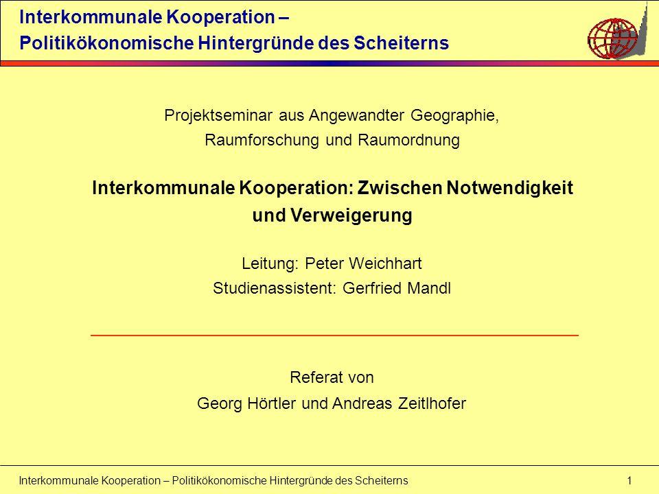 Interkommunale Kooperation: Zwischen Notwendigkeit