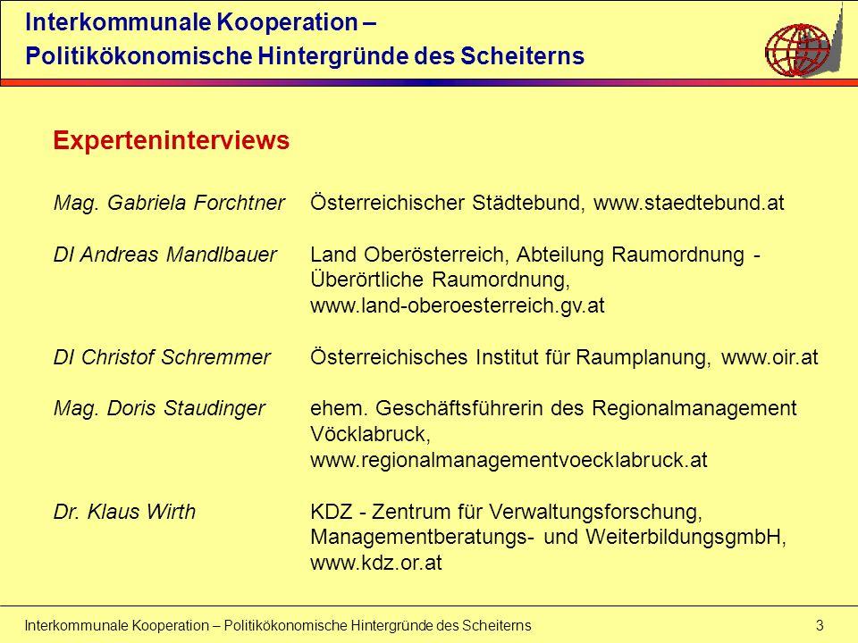 Experteninterviews Interkommunale Kooperation –
