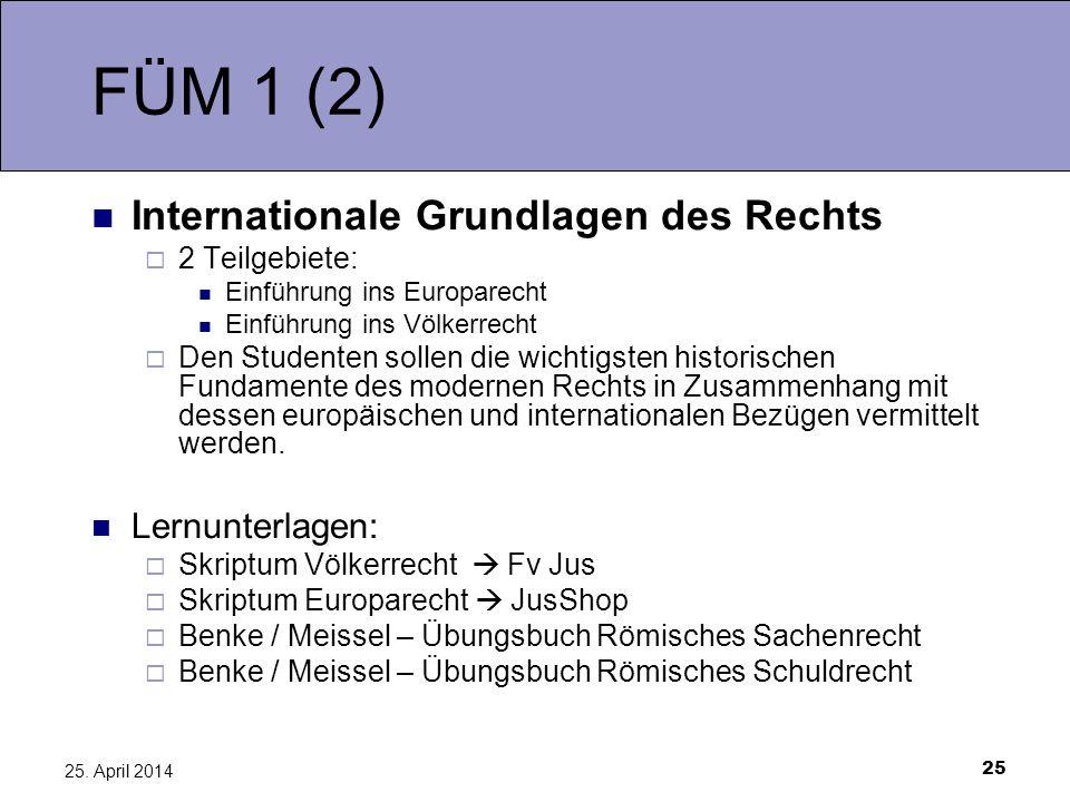 FÜM 1 (2) Internationale Grundlagen des Rechts Lernunterlagen: