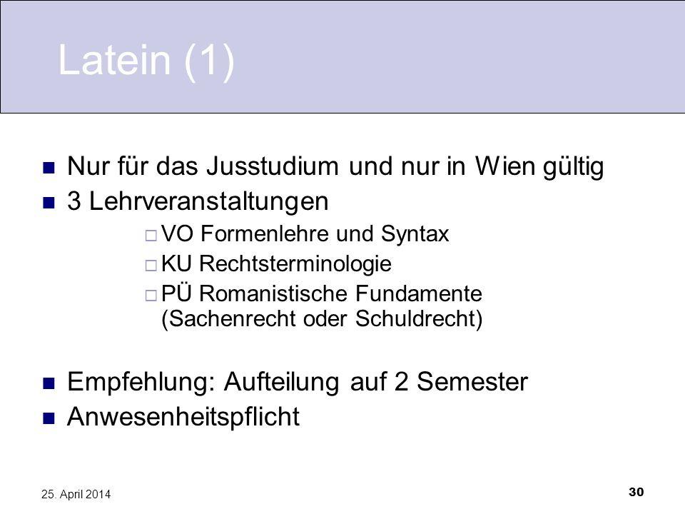 Latein (1) Nur für das Jusstudium und nur in Wien gültig