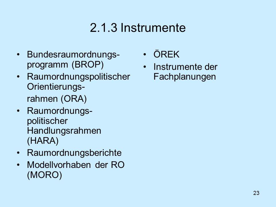 2.1.3 Instrumente Bundesraumordnungs-programm (BROP)