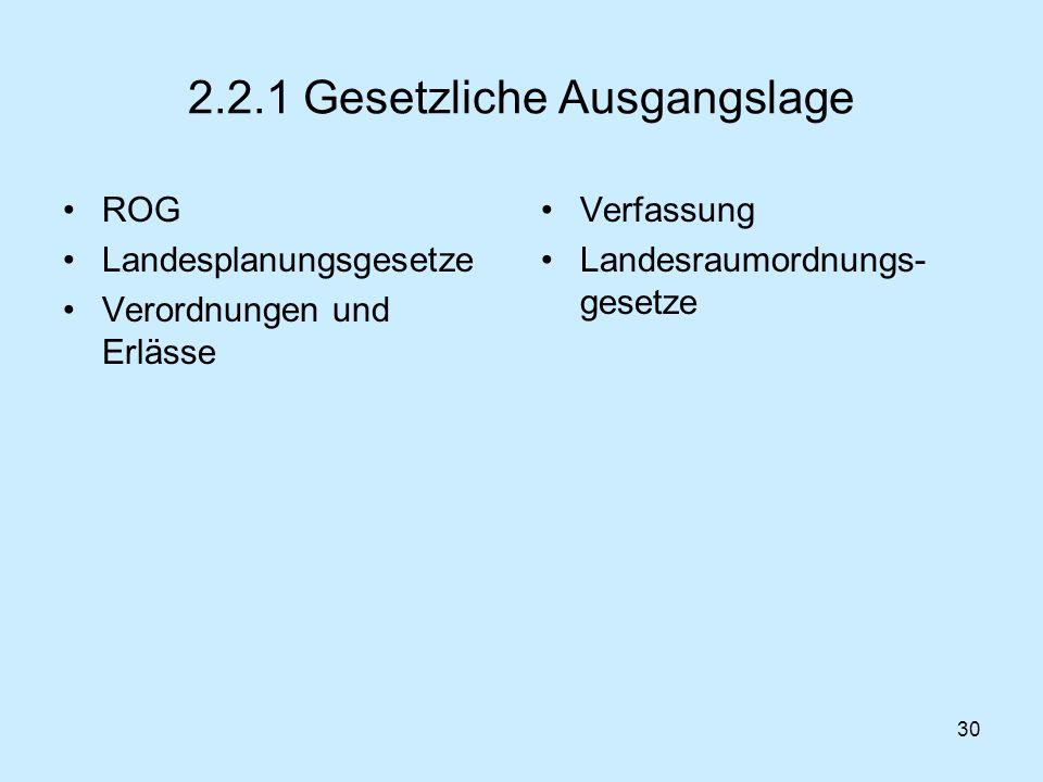 2.2.1 Gesetzliche Ausgangslage