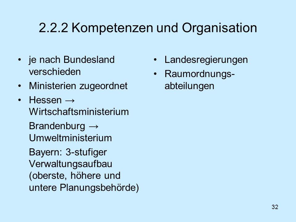 2.2.2 Kompetenzen und Organisation