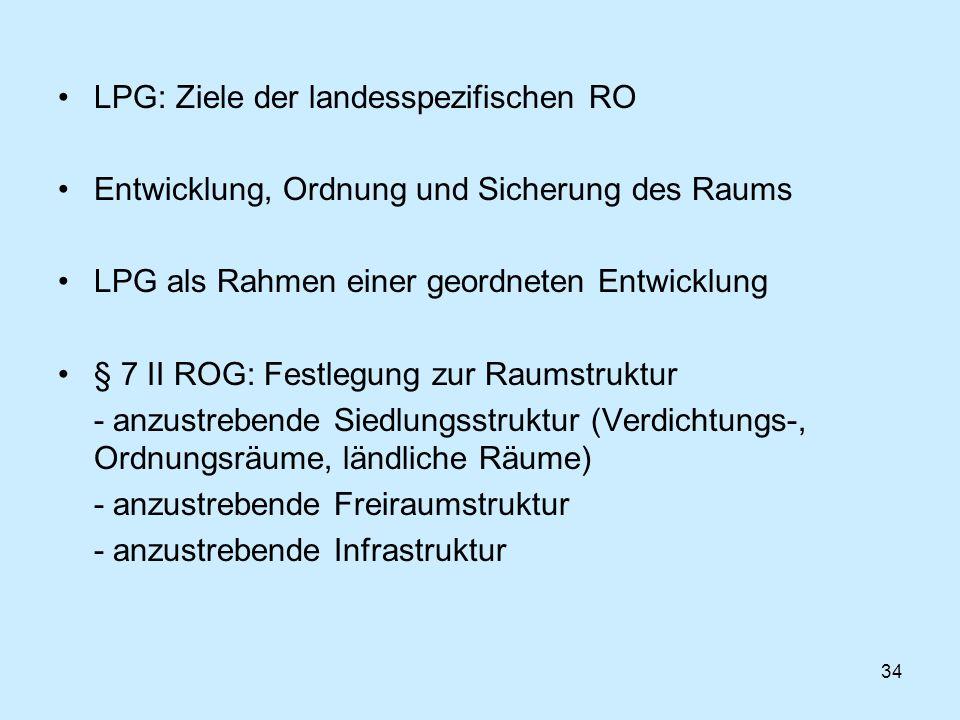 LPG: Ziele der landesspezifischen RO