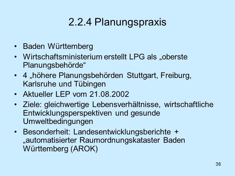 2.2.4 Planungspraxis Baden Württemberg