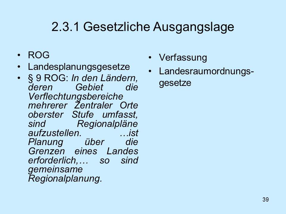 2.3.1 Gesetzliche Ausgangslage