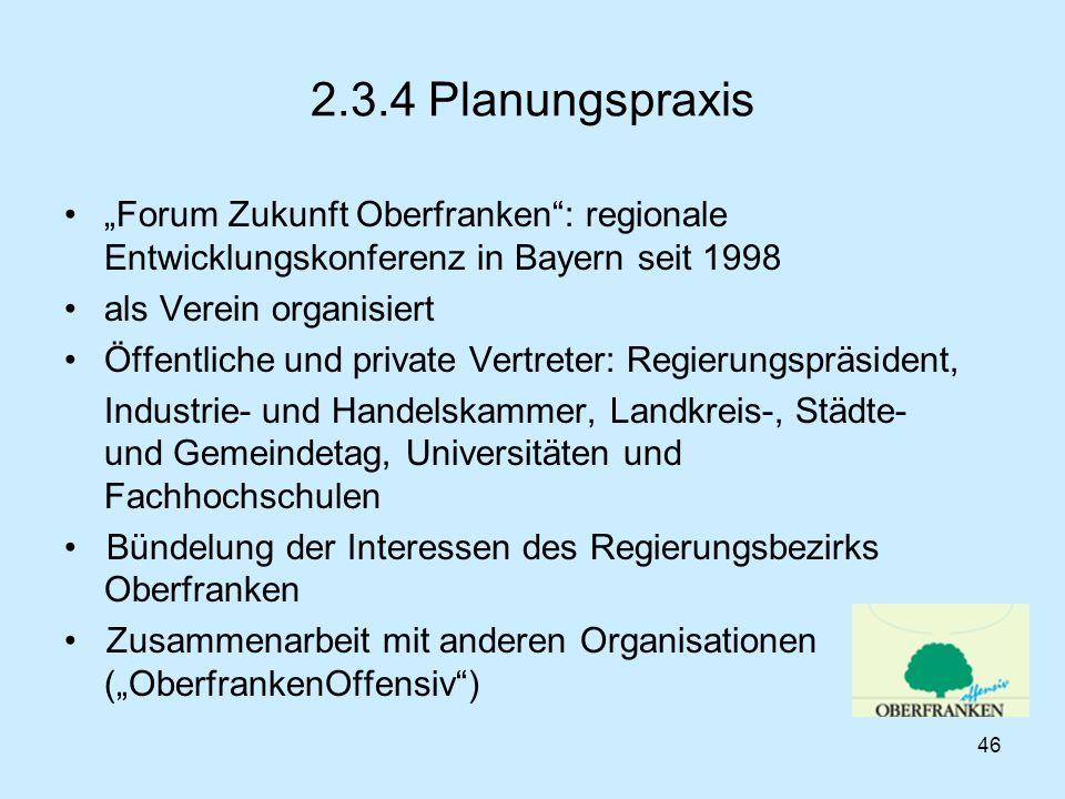 """2.3.4 Planungspraxis """"Forum Zukunft Oberfranken : regionale Entwicklungskonferenz in Bayern seit 1998."""