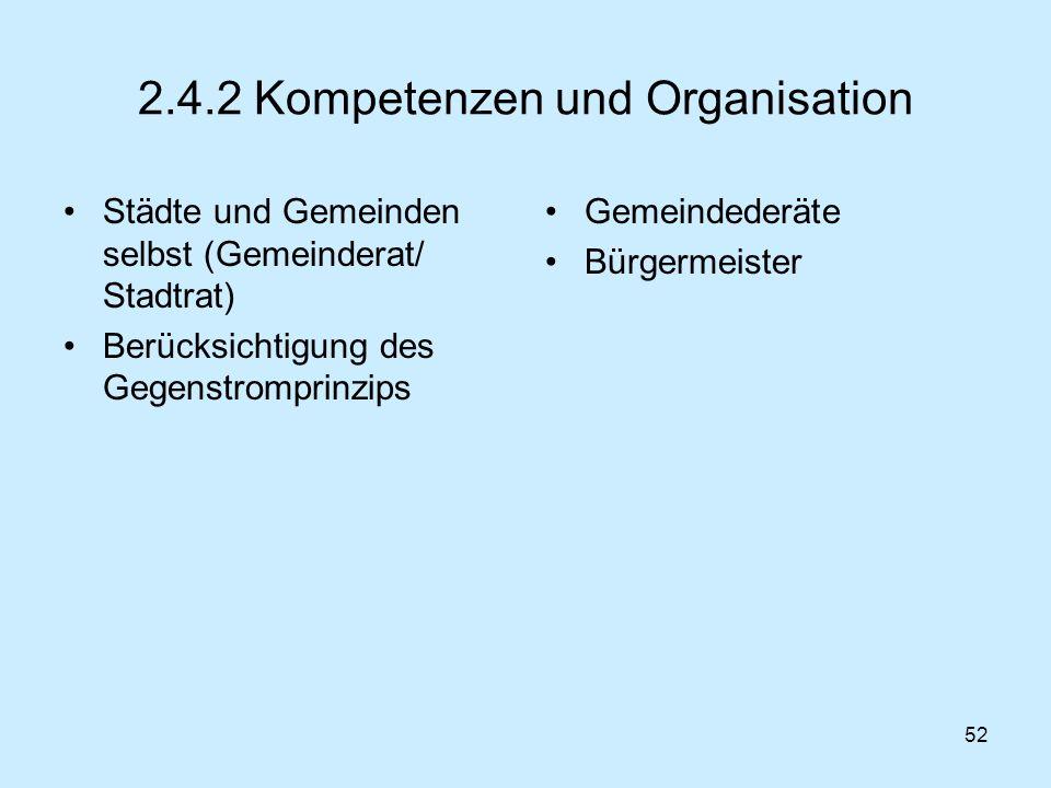 2.4.2 Kompetenzen und Organisation